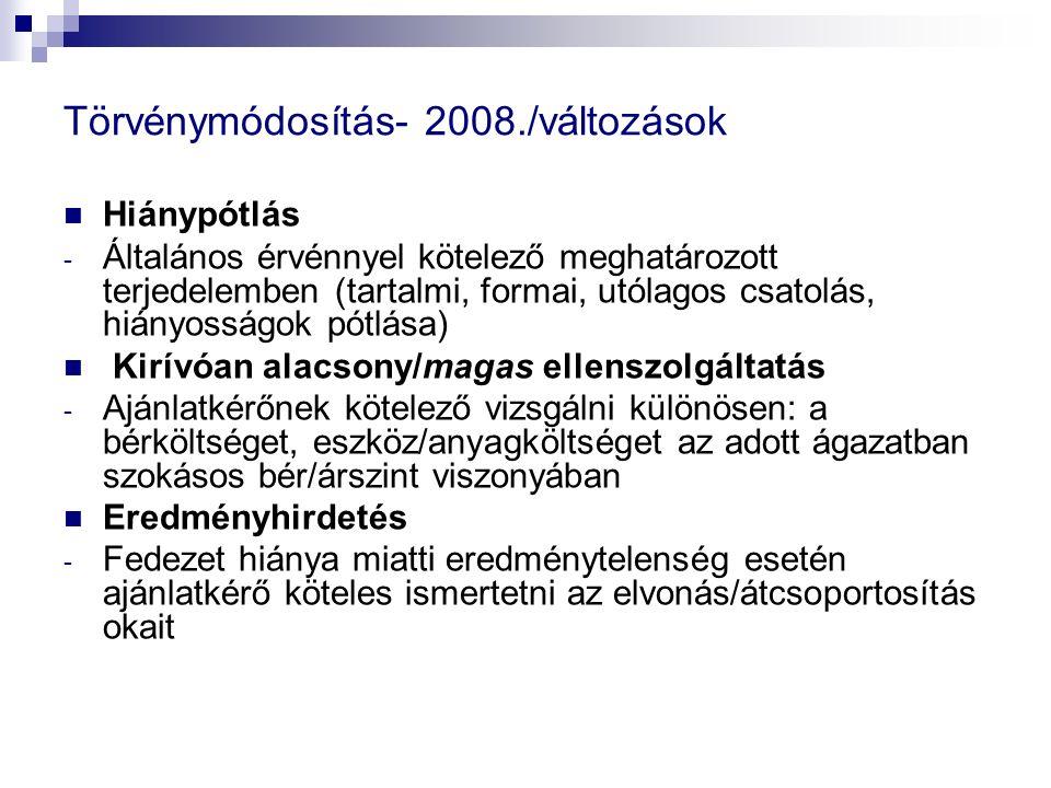Törvénymódosítás- 2008./változások Hiánypótlás - Általános érvénnyel kötelező meghatározott terjedelemben (tartalmi, formai, utólagos csatolás, hiányo