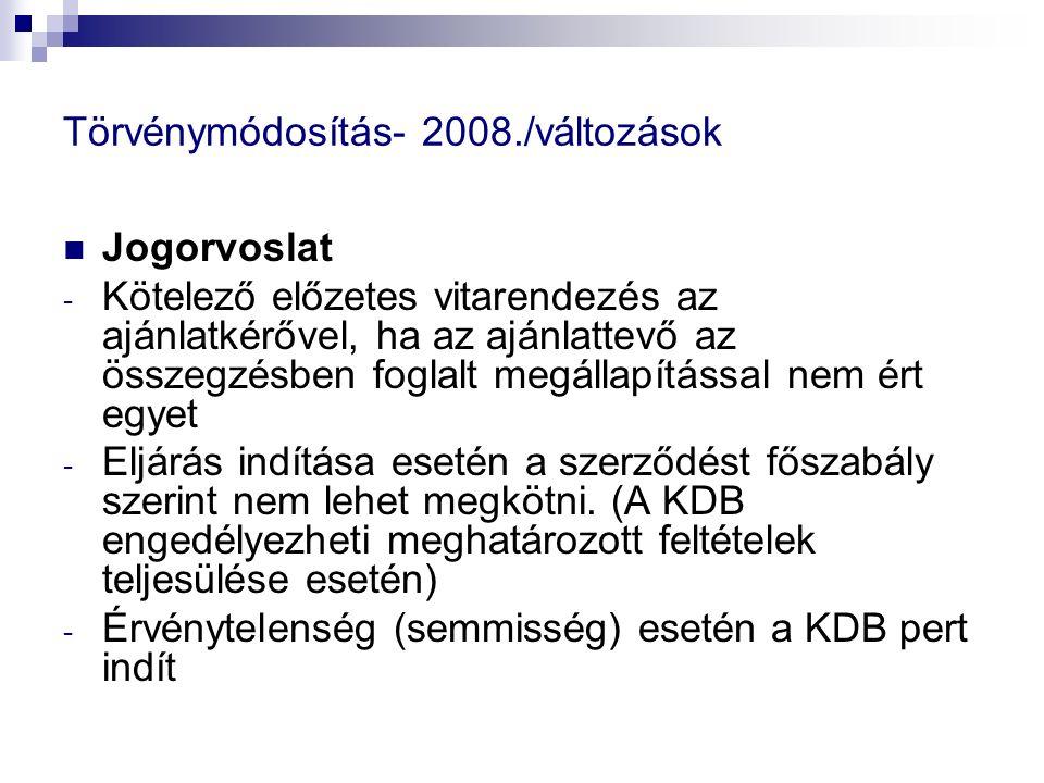 Törvénymódosítás- 2008./változások Jogorvoslat - Kötelező előzetes vitarendezés az ajánlatkérővel, ha az ajánlattevő az összegzésben foglalt megállapí