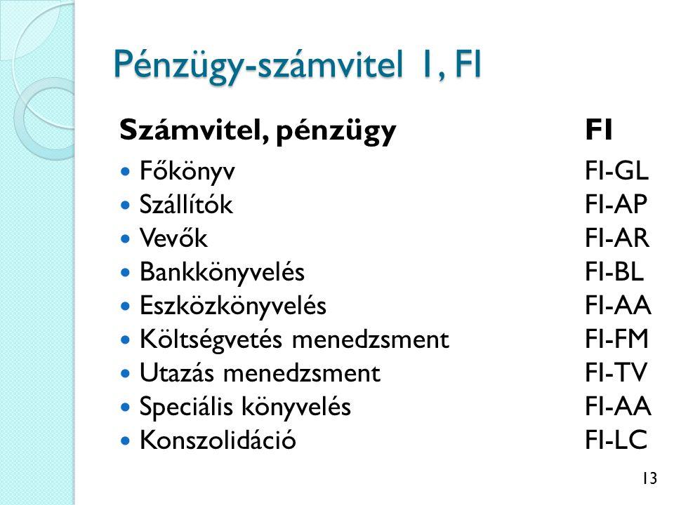 13 Pénzügy-számvitel 1, FI Számvitel, pénzügyFI FőkönyvFI-GL SzállítókFI-AP VevőkFI-AR BankkönyvelésFI-BL EszközkönyvelésFI-AA Költségvetés menedzsmentFI-FM Utazás menedzsmentFI-TV Speciális könyvelésFI-AA KonszolidációFI-LC