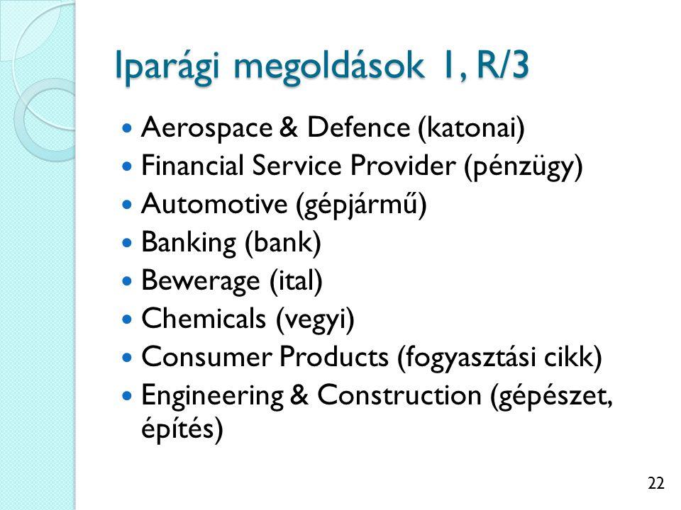 22 Iparági megoldások 1, R/3 Aerospace & Defence (katonai) Financial Service Provider (pénzügy) Automotive (gépjármű) Banking (bank) Bewerage (ital) Chemicals (vegyi) Consumer Products (fogyasztási cikk) Engineering & Construction (gépészet, építés)