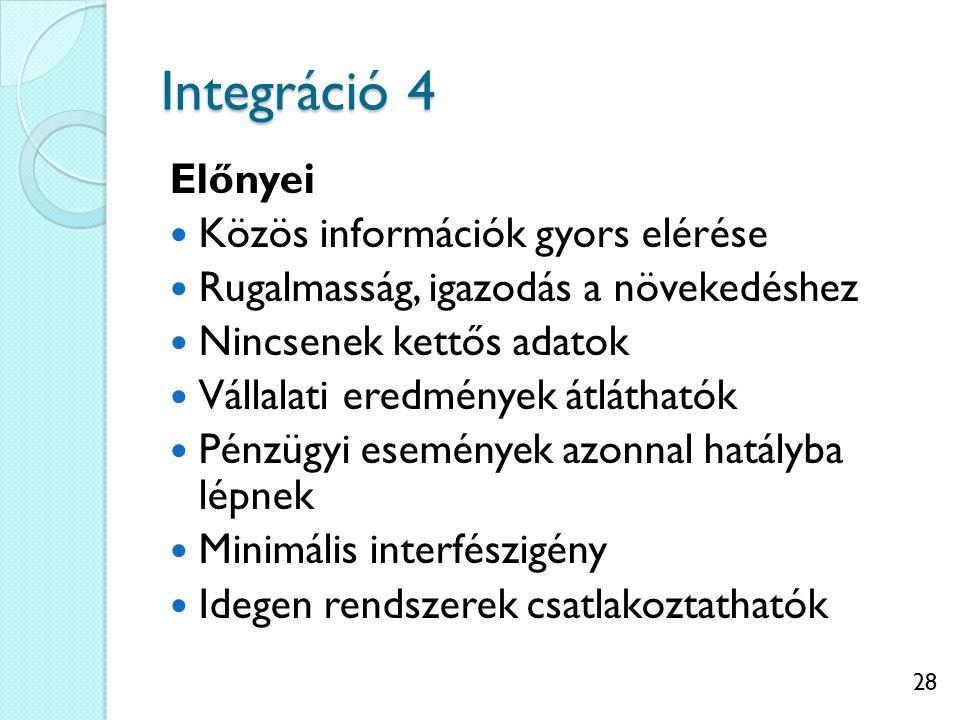 28 Integráció 4 Előnyei Közös információk gyors elérése Rugalmasság, igazodás a növekedéshez Nincsenek kettős adatok Vállalati eredmények átláthatók Pénzügyi események azonnal hatályba lépnek Minimális interfészigény Idegen rendszerek csatlakoztathatók
