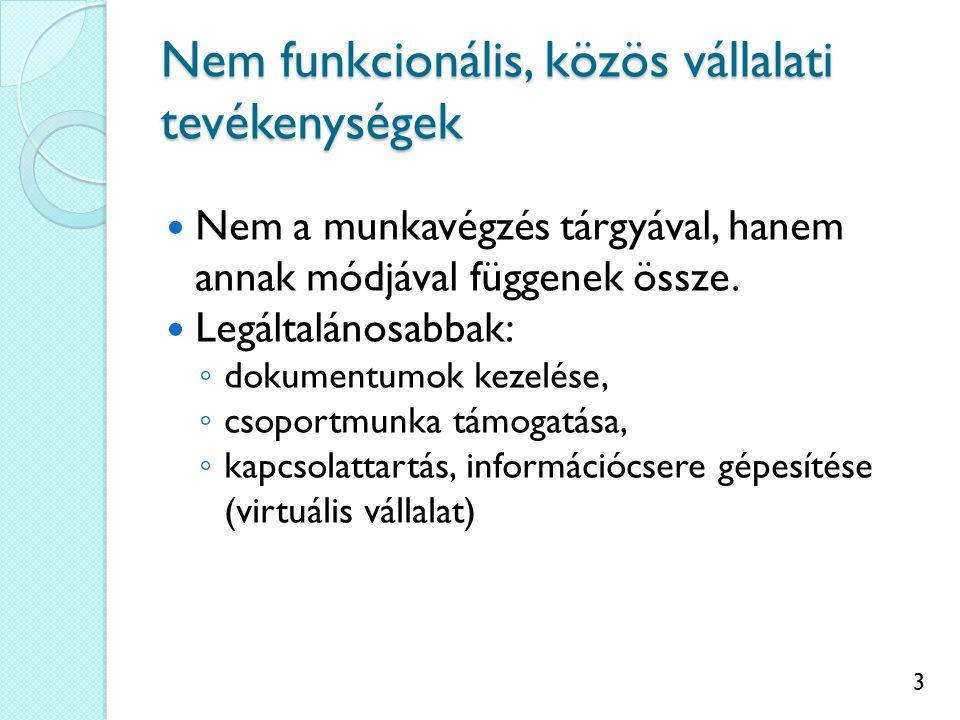 3 Nem funkcionális, közös vállalati tevékenységek Nem a munkavégzés tárgyával, hanem annak módjával függenek össze.