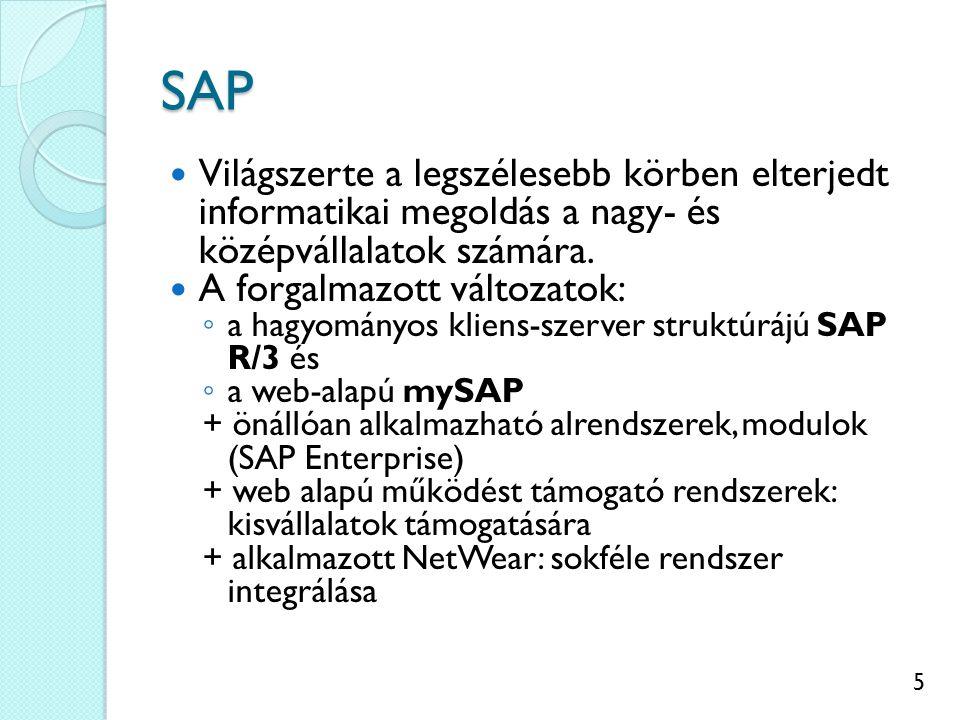 6 SAP R/3 funkcionalitása Az üzleti és technológiai folyamatokat kulcsrakész rendszerbe kapcsolja össze.