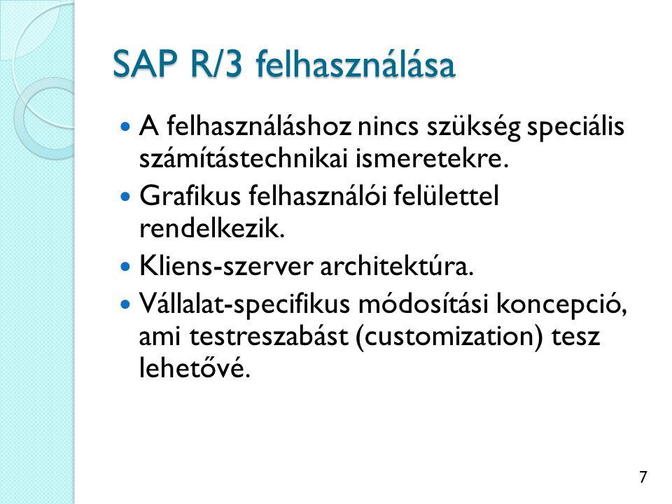7 SAP R/3 felhasználása A felhasználáshoz nincs szükség speciális számítástechnikai ismeretekre.