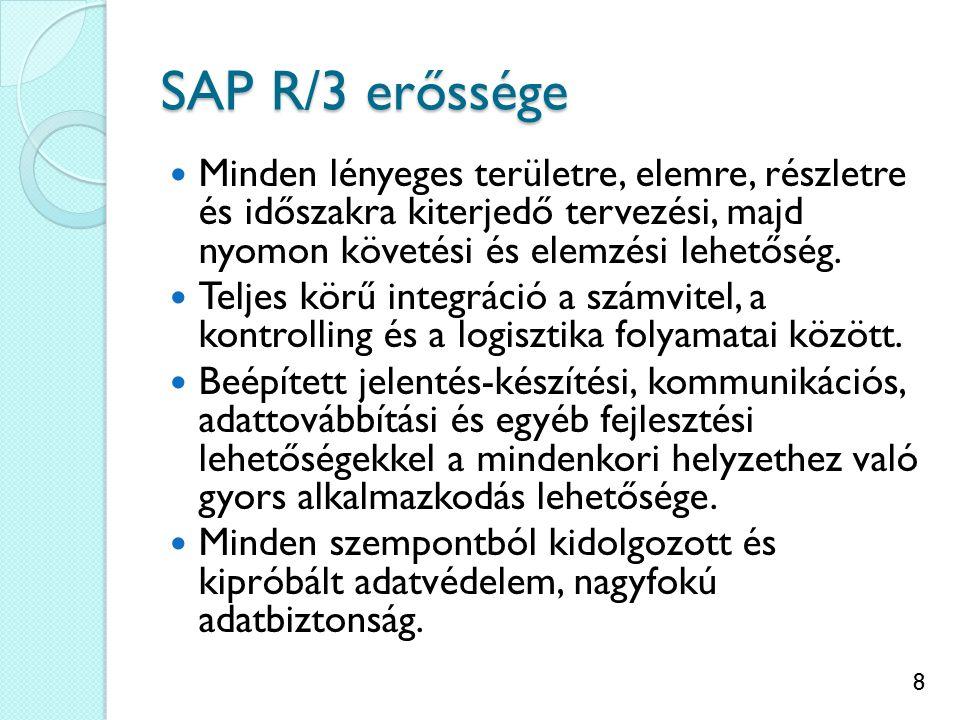 8 SAP R/3 erőssége Minden lényeges területre, elemre, részletre és időszakra kiterjedő tervezési, majd nyomon követési és elemzési lehetőség.