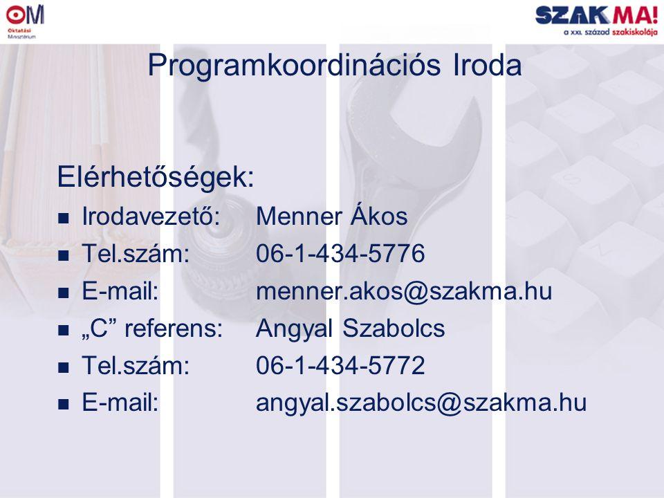 """Programkoordinációs Iroda Elérhetőségek: n Irodavezető:Menner Ákos n Tel.szám:06-1-434-5776 n E-mail:menner.akos@szakma.hu n """"C referens:Angyal Szabolcs n Tel.szám:06-1-434-5772 n E-mail:angyal.szabolcs@szakma.hu"""