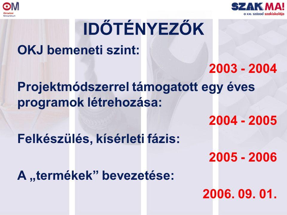 """IDŐTÉNYEZŐK OKJ bemeneti szint: 2003 - 2004 Projektmódszerrel támogatott egy éves programok létrehozása: 2004 - 2005 Felkészülés, kísérleti fázis: 2005 - 2006 A """"termékek bevezetése: 2006."""