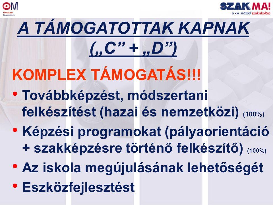 """A TÁMOGATOTTAK KAPNAK (""""C"""" + """"D"""") KOMPLEX TÁMOGATÁS!!! Továbbképzést, módszertani felkészítést (hazai és nemzetközi) (100%) Képzési programokat (pálya"""