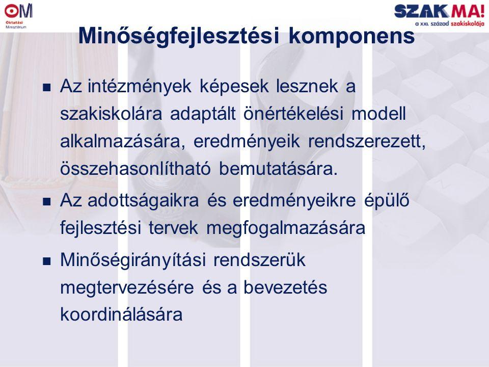 Minőségfejlesztési komponens n Az intézmények képesek lesznek a szakiskolára adaptált önértékelési modell alkalmazására, eredményeik rendszerezett, ös