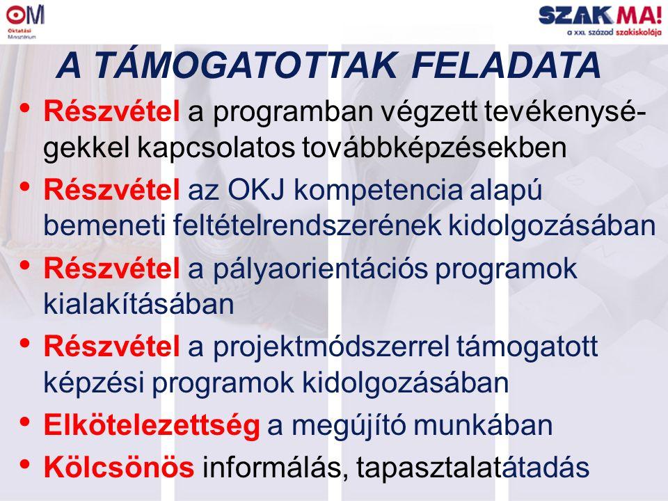 A TÁMOGATOTTAK FELADATA Részvétel a programban végzett tevékenysé- gekkel kapcsolatos továbbképzésekben Részvétel az OKJ kompetencia alapú bemeneti fe