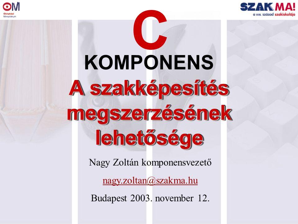 A szakképesítés megszerzésének lehetősége KOMPONENS C Nagy Zoltán komponensvezető nagy.zoltan@szakma.hu Budapest 2003. november 12.