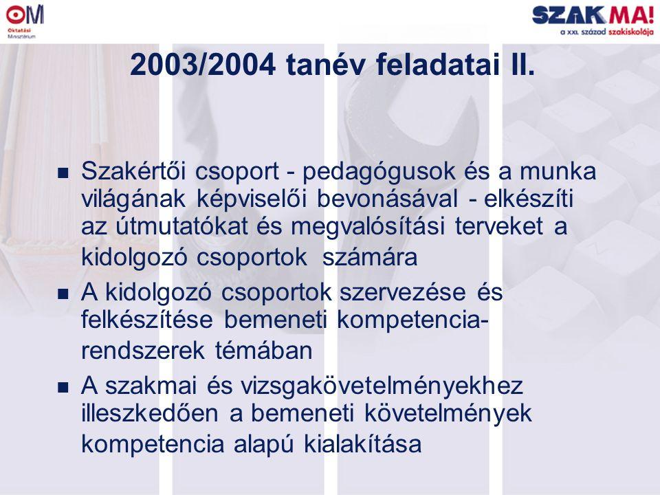 2003/2004 tanév feladatai II. n Szakértői csoport - pedagógusok és a munka világának képviselői bevonásával - elkészíti az útmutatókat és megvalósítás