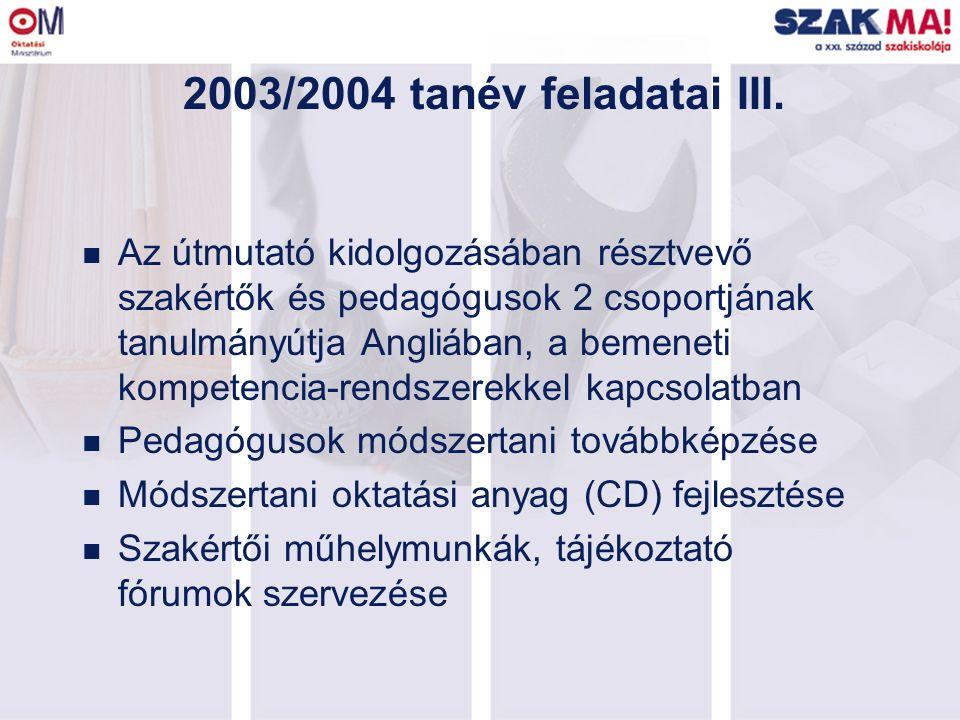 2003/2004 tanév feladatai III. n Az útmutató kidolgozásában résztvevő szakértők és pedagógusok 2 csoportjának tanulmányútja Angliában, a bemeneti komp