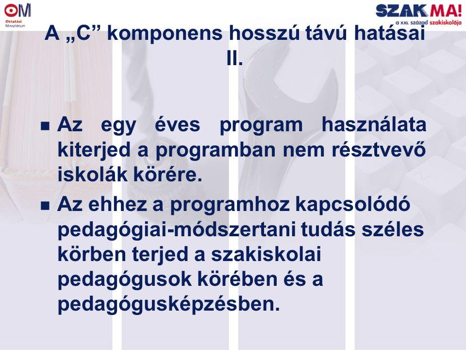 """A """"C"""" komponens hosszú távú hatásai II. n Az egy éves program használata kiterjed a programban nem résztvevő iskolák körére. n Az ehhez a programhoz k"""