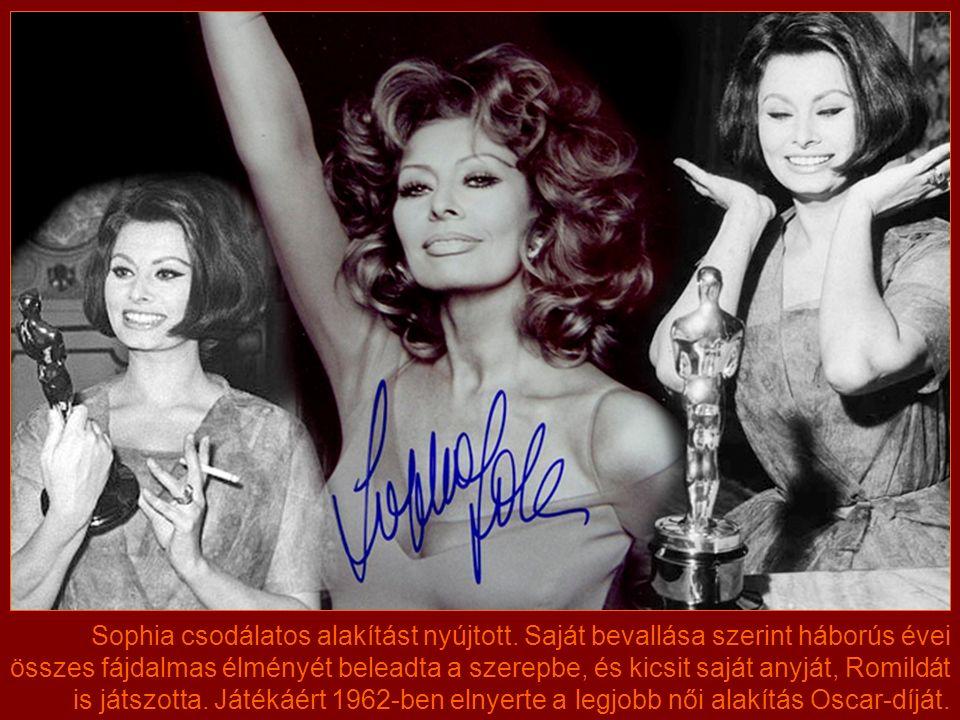 """A hollywoodi produkciók ellenére Sophia végül egy olasz filmmel, az 1960-ban bemutatott """"Egy asszony meg a lánya című filmmel vált igazán világhírű, elismert színésznővé."""