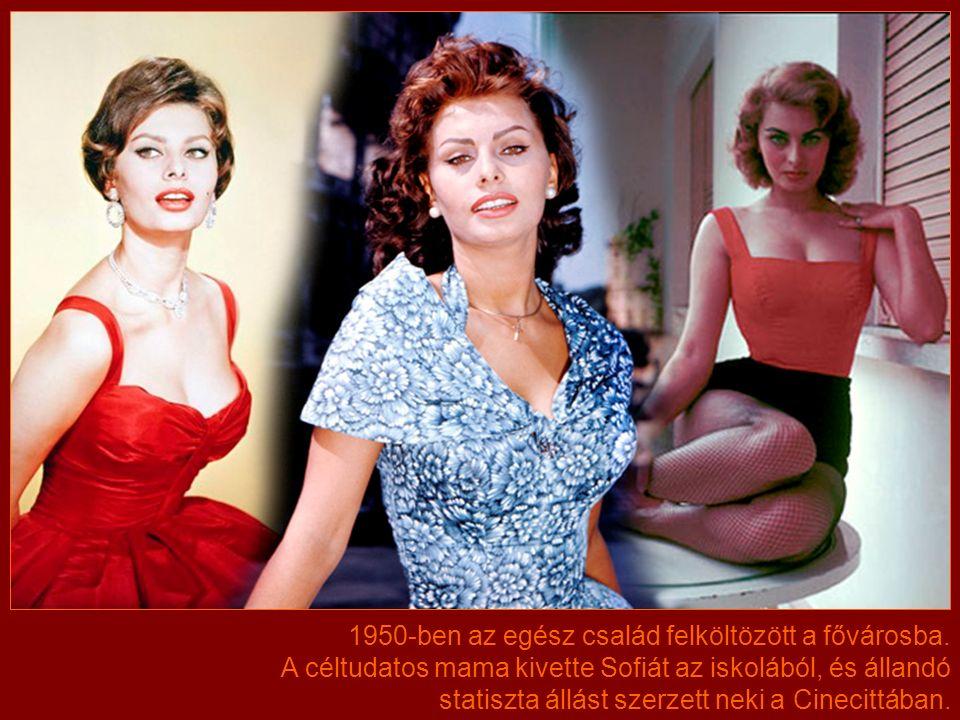 A családi legenda szerint Romilda függönyből varrt ruhát Sofiának. A versenyen a 15 éves szépség második helyezést ért el.