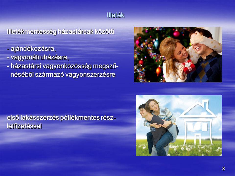 8 Illeték Illetékmentesség házastársak közötti - ajándékozásra, - vagyonátruházásra, - házastársi vagyonközösség megszű- néséből származó vagyonszerzé