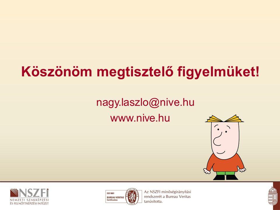 Köszönöm megtisztelő figyelmüket! nagy.laszlo@nive.hu www.nive.hu