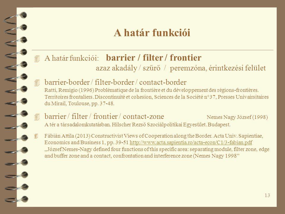 4 A határ funkciói: barrier / filter / frontier azaz akadály / szűrő / peremzóna, érintkezési felület 4 barrier-border / filter-border / contact-border Ratti, Remigio (1996) Problématique de la frontière et du développement des régions-frontières.