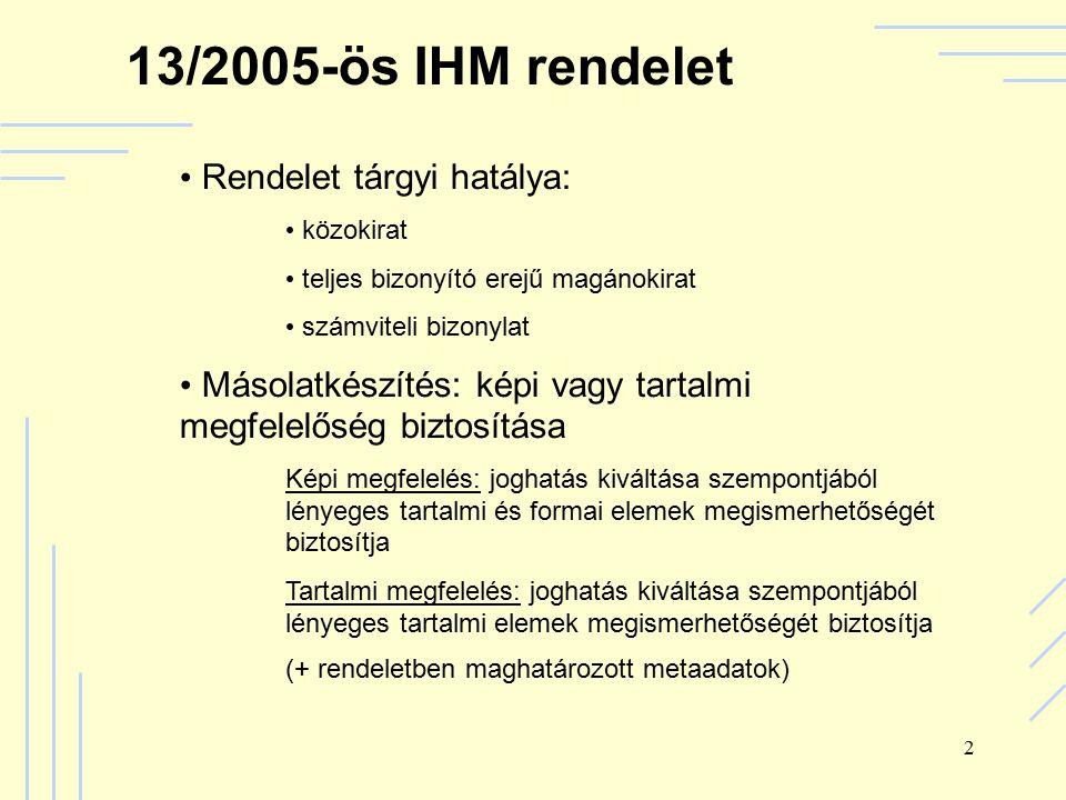 2 13/2005-ös IHM rendelet Rendelet tárgyi hatálya: közokirat teljes bizonyító erejű magánokirat számviteli bizonylat Másolatkészítés: képi vagy tartalmi megfelelőség biztosítása Képi megfelelés: joghatás kiváltása szempontjából lényeges tartalmi és formai elemek megismerhetőségét biztosítja Tartalmi megfelelés: joghatás kiváltása szempontjából lényeges tartalmi elemek megismerhetőségét biztosítja (+ rendeletben maghatározott metaadatok)