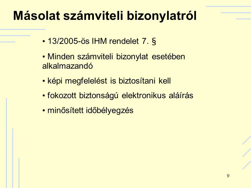 9 Másolat számviteli bizonylatról 13/2005-ös IHM rendelet 7.
