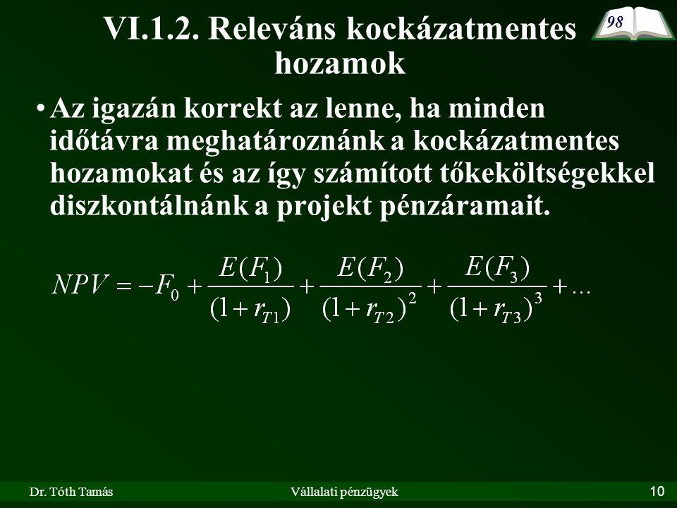 Dr. Tóth TamásVállalati pénzügyek10 VI.1.2.