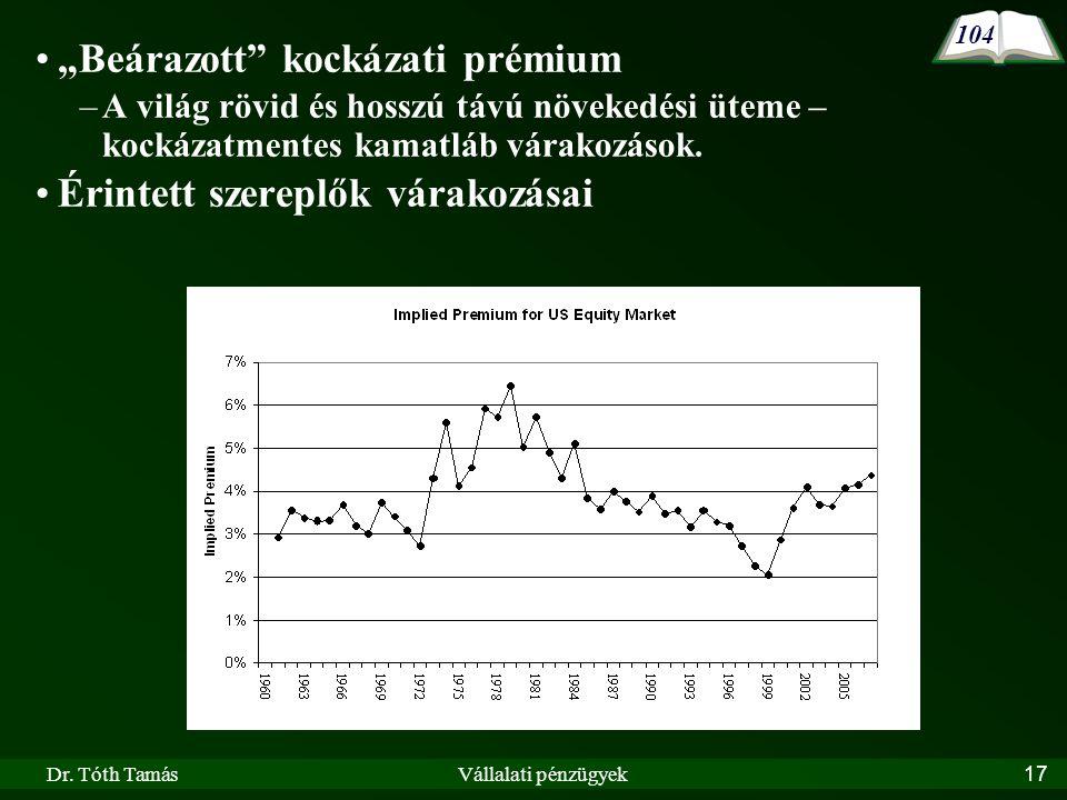 """Dr. Tóth TamásVállalati pénzügyek17 104 """"Beárazott"""" kockázati prémium –A világ rövid és hosszú távú növekedési üteme – kockázatmentes kamatláb várakoz"""