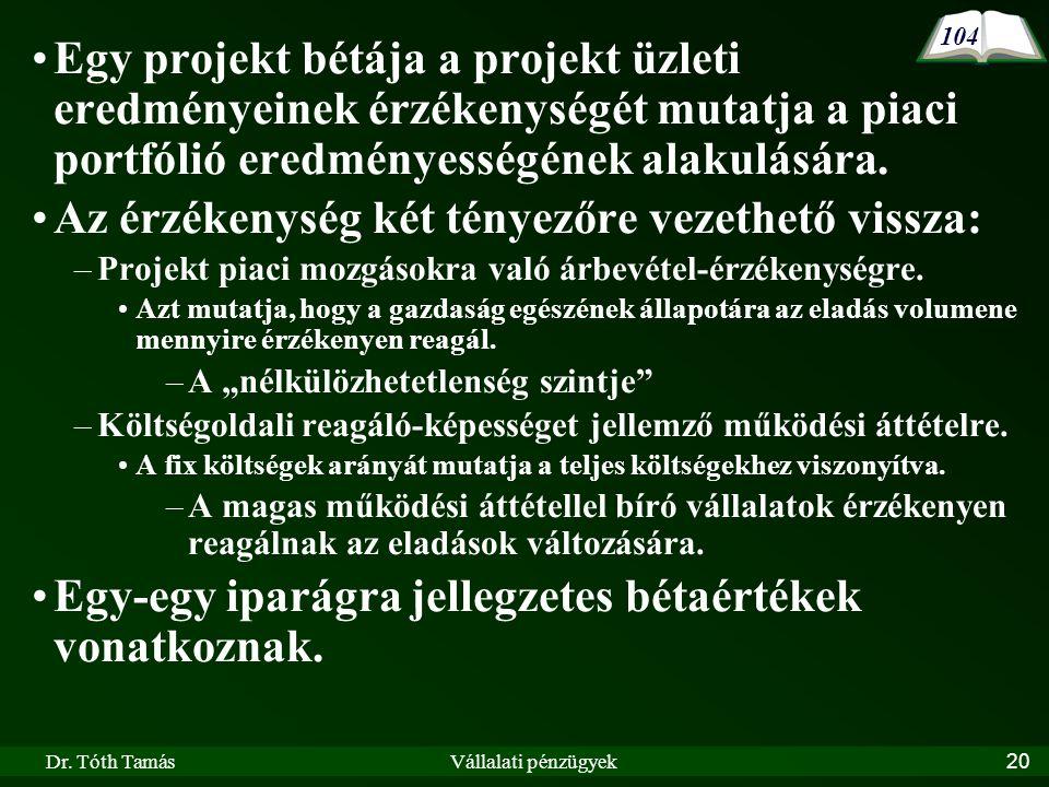 Dr. Tóth TamásVállalati pénzügyek20 Egy projekt bétája a projekt üzleti eredményeinek érzékenységét mutatja a piaci portfólió eredményességének alakul