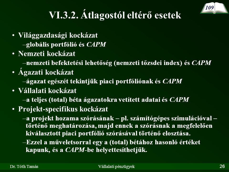 Dr. Tóth TamásVállalati pénzügyek26 VI.3.2.