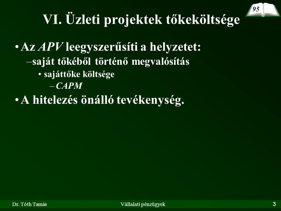 Dr. Tóth TamásVállalati pénzügyek3 Az APV leegyszerűsíti a helyzetet: –saját tőkéből történő megvalósítás sajáttőke költsége –CAPM A hitelezés önálló
