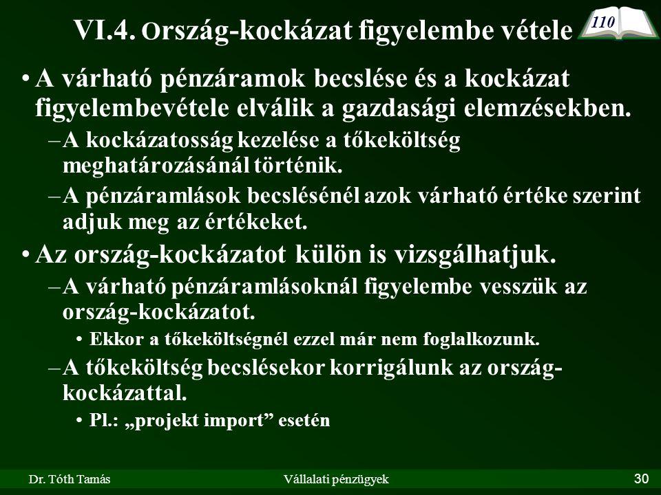 Dr. Tóth TamásVállalati pénzügyek30 VI.4.