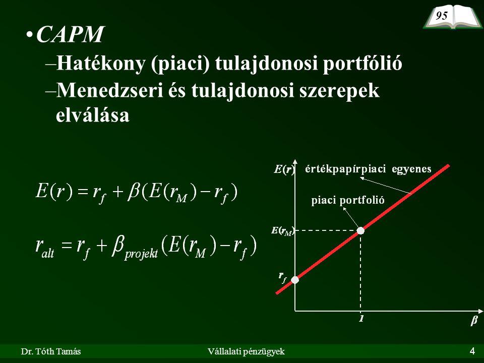 Dr. Tóth TamásVállalati pénzügyek4 CAPM –Hatékony (piaci) tulajdonosi portfólió –Menedzseri és tulajdonosi szerepek elválása 95
