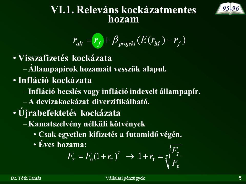 Dr.Tóth TamásVállalati pénzügyek26 VI.3.2.