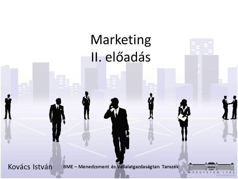 Marketing II. előadás Kovács István BME – Menedzsment és Vállalatgazdaságtan Tanszék