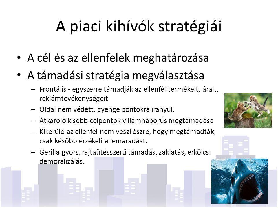 A piaci kihívók stratégiái A cél és az ellenfelek meghatározása A támadási stratégia megválasztása – Frontális - egyszerre támadják az ellenfél termékeit, árait, reklámtevékenységeit – Oldal nem védett, gyenge pontokra irányul.