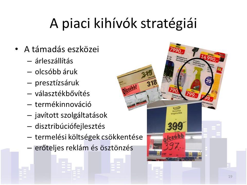 A piaci kihívók stratégiái A támadás eszközei – árleszállítás – olcsóbb áruk – presztízsáruk – választékbővítés – termékinnováció – javított szolgáltatások – disztribúciófejlesztés – termelési költségek csökkentése – erőteljes reklám és ösztönzés 19