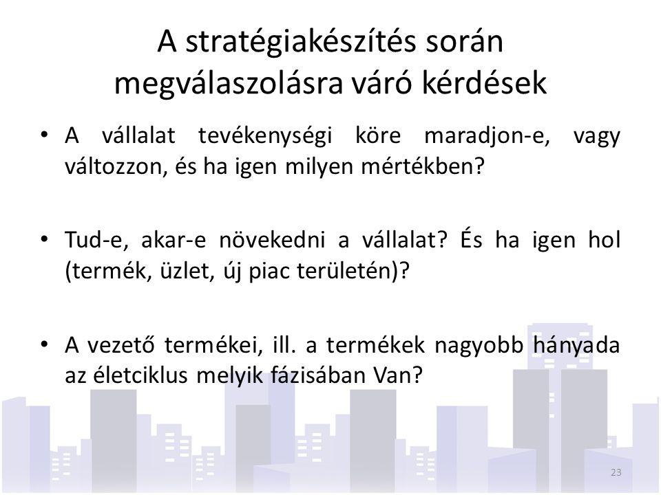 A stratégiakészítés során megválaszolásra váró kérdések A vállalat tevékenységi köre maradjon-e, vagy változzon, és ha igen milyen mértékben.