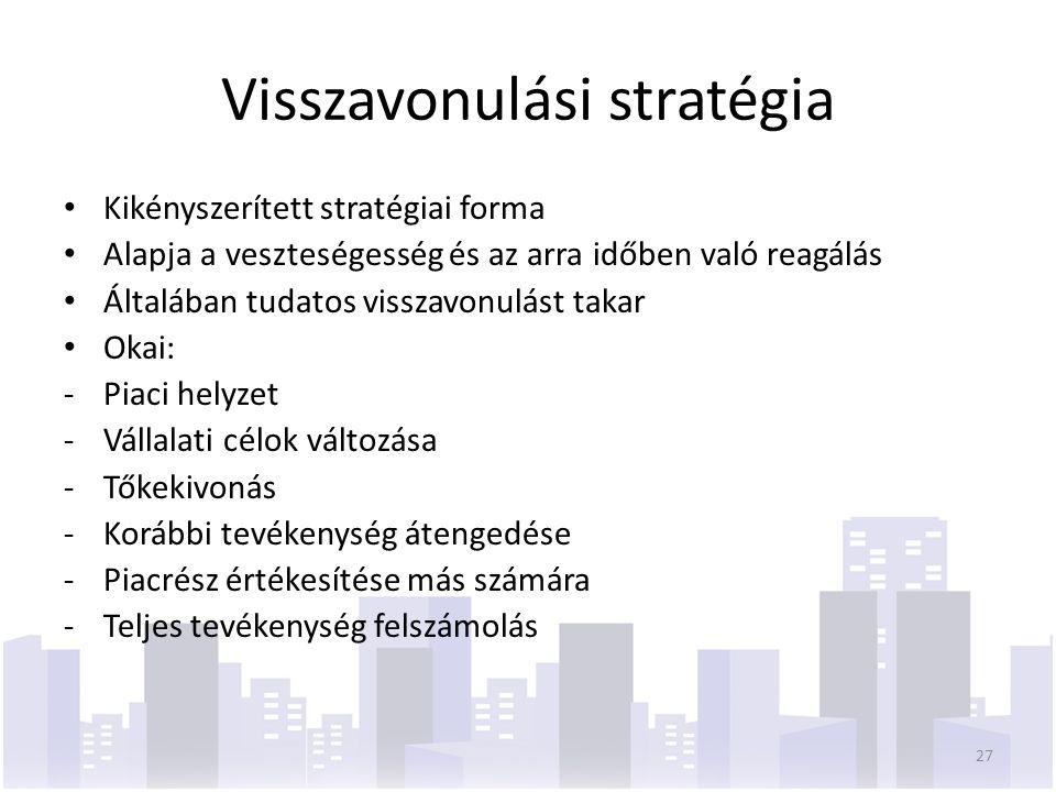 Visszavonulási stratégia Kikényszerített stratégiai forma Alapja a veszteségesség és az arra időben való reagálás Általában tudatos visszavonulást takar Okai: -Piaci helyzet -Vállalati célok változása -Tőkekivonás -Korábbi tevékenység átengedése -Piacrész értékesítése más számára -Teljes tevékenység felszámolás 27