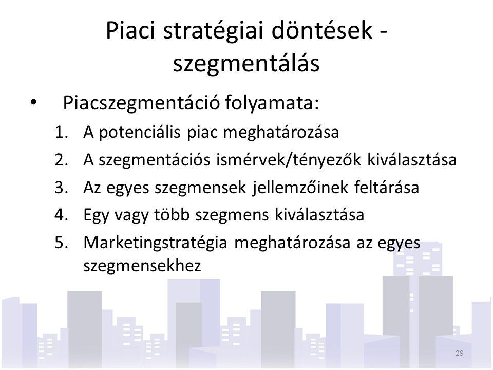 Piaci stratégiai döntések - szegmentálás Piacszegmentáció folyamata: 1.A potenciális piac meghatározása 2.A szegmentációs ismérvek/tényezők kiválasztása 3.Az egyes szegmensek jellemzőinek feltárása 4.Egy vagy több szegmens kiválasztása 5.Marketingstratégia meghatározása az egyes szegmensekhez 29