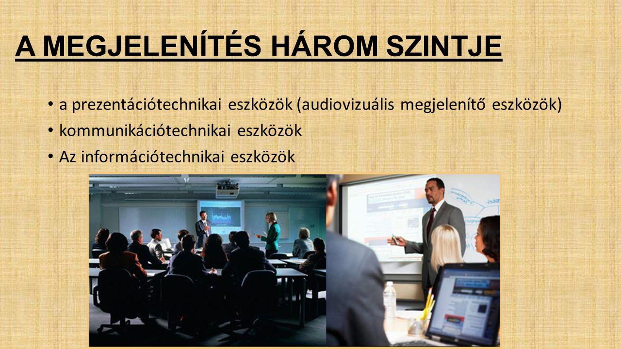 A MEGJELENÍTÉS HÁROM SZINTJE a prezentációtechnikai eszközök (audiovizuális megjelenítő eszközök) kommunikációtechnikai eszközök Az információtechnikai eszközök
