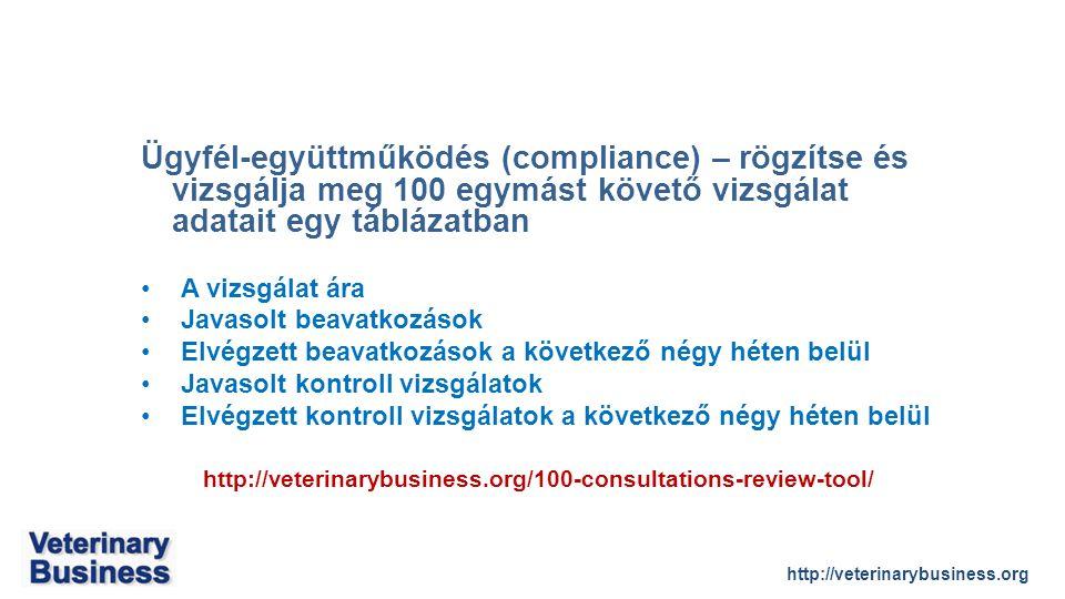 http://veterinarybusiness.org Ügyfél-együttműködés (compliance) – rögzítse és vizsgálja meg 100 egymást követő vizsgálat adatait egy táblázatban A vizsgálat ára Javasolt beavatkozások Elvégzett beavatkozások a következő négy héten belül Javasolt kontroll vizsgálatok Elvégzett kontroll vizsgálatok a következő négy héten belül http://veterinarybusiness.org/100-consultations-review-tool/