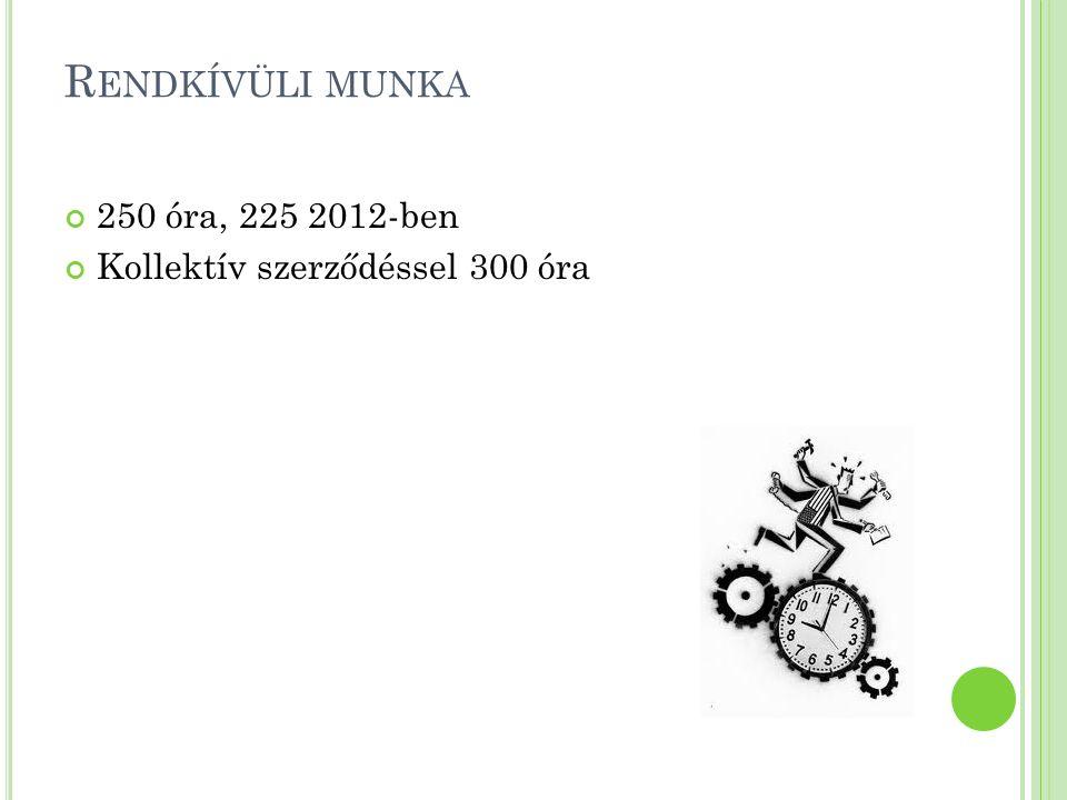 R ENDKÍVÜLI MUNKA 250 óra, 225 2012-ben Kollektív szerződéssel 300 óra