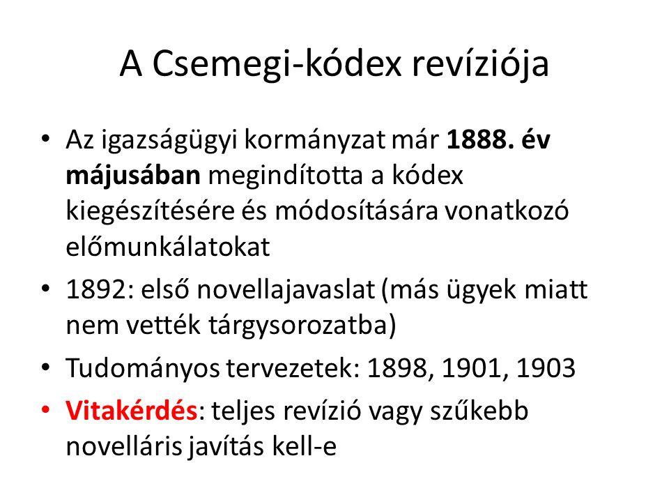 A Csemegi-kódex revíziója Az igazságügyi kormányzat már 1888. év májusában megindította a kódex kiegészítésére és módosítására vonatkozó előmunkálatok