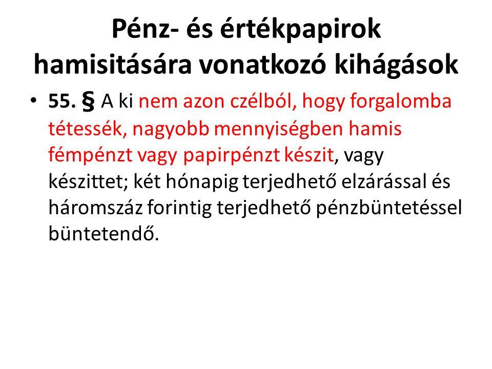 Pénz- és értékpapirok hamisitására vonatkozó kihágások 55.