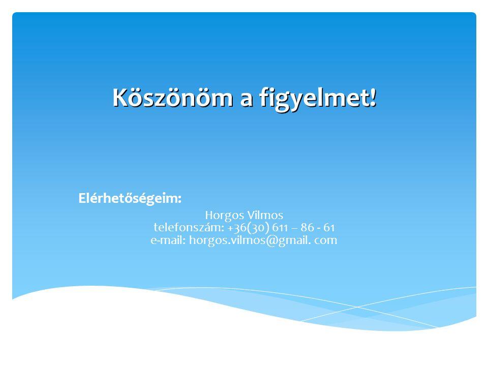 Köszönöm a figyelmet! Elérhetőségeim: Horgos Vilmos telefonszám: +36(30) 611 – 86 - 61 e-mail: horgos.vilmos@gmail. com