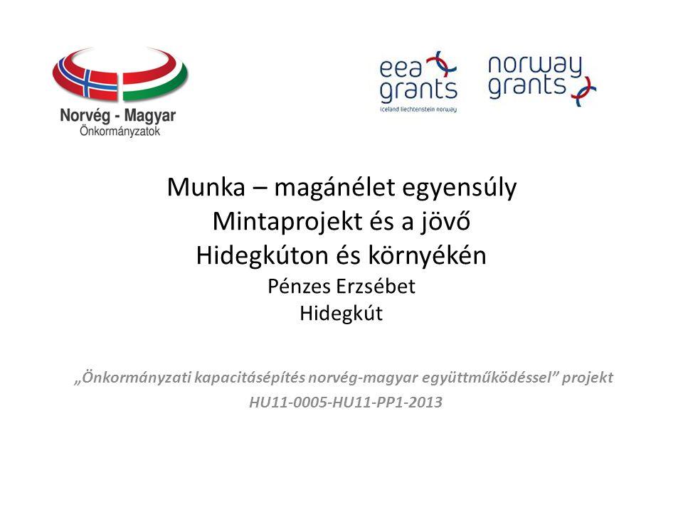 """Munka – magánélet egyensúly Mintaprojekt és a jövő Hidegkúton és környékén Pénzes Erzsébet Hidegkút """"Önkormányzati kapacitásépítés norvég‐magyar együttműködéssel projekt HU11-0005-HU11-PP1-2013"""