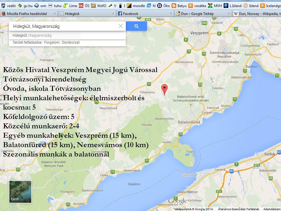 Közös Hivatal Veszprém Megyei Jogú Várossal Tótvázsonyi kirendeltség Óvoda, iskola Tótvázsonyban Helyi munkalehetőségek: élelmiszerbolt és kocsma: 5 K