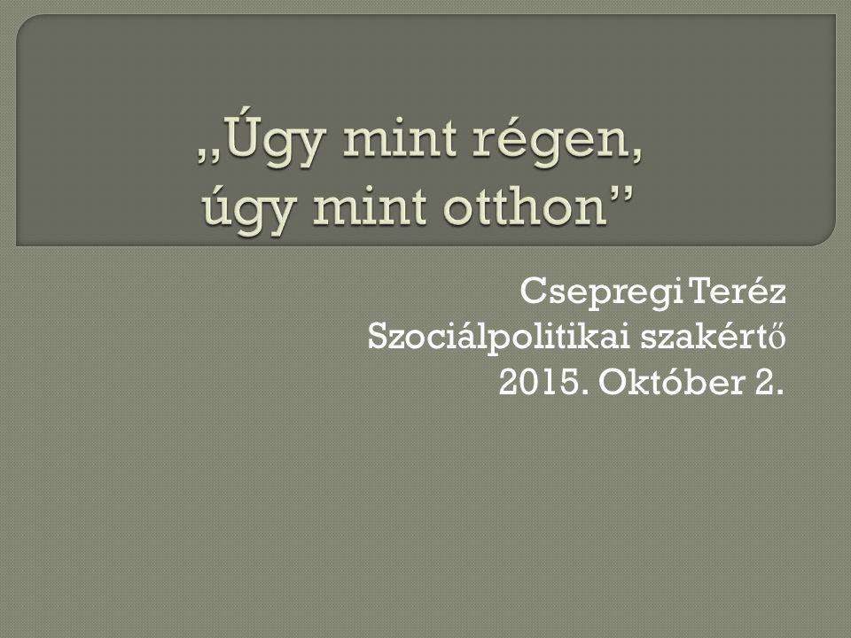 Csepregi Teréz Szociálpolitikai szakért ő 2015. Október 2.