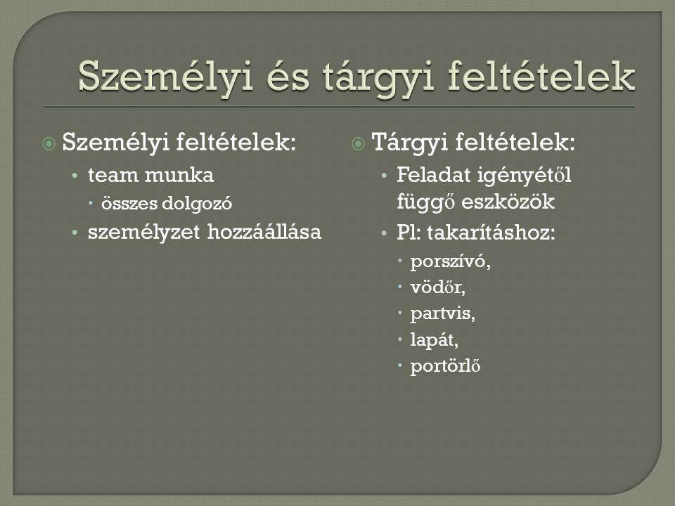  Személyi feltételek: team munka  összes dolgozó személyzet hozzáállása  Tárgyi feltételek: Feladat igényét ő l függ ő eszközök Pl: takarításhoz: 