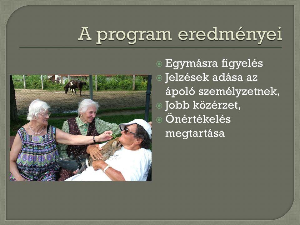  Egymásra figyelés  Jelzések adása az ápoló személyzetnek,  Jobb közérzet,  Önértékelés megtartása